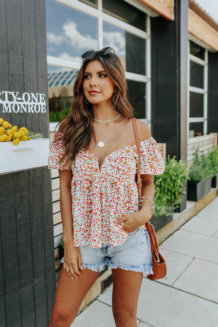 Puff Sleeve Sweetheart Floral Empire Top
