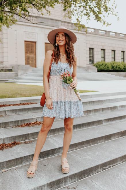 Strapless Tie Front Floral Colorblock Dress