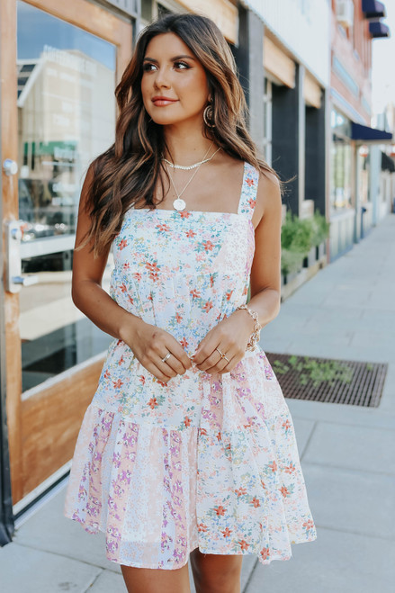 Square Neck Mixed Floral Dress