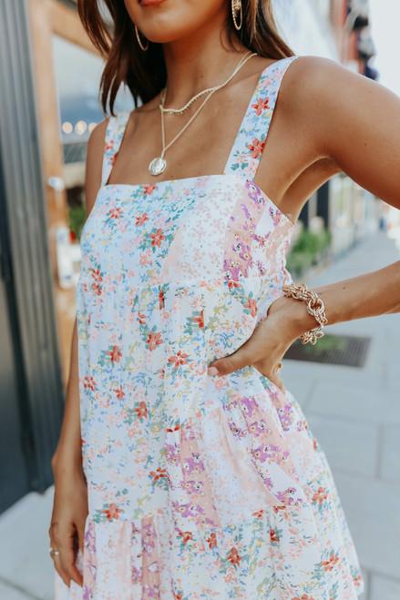 Square Neck Mixed Floral Dress - FINAL SALE