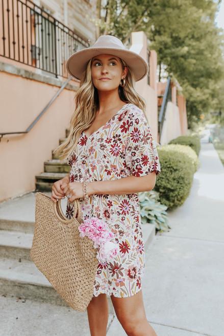 Tuscan Cafe V-Neck Floral Babydoll Dress