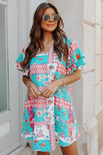 V-Neck Ruffle Sleeve Mixed Print Dress