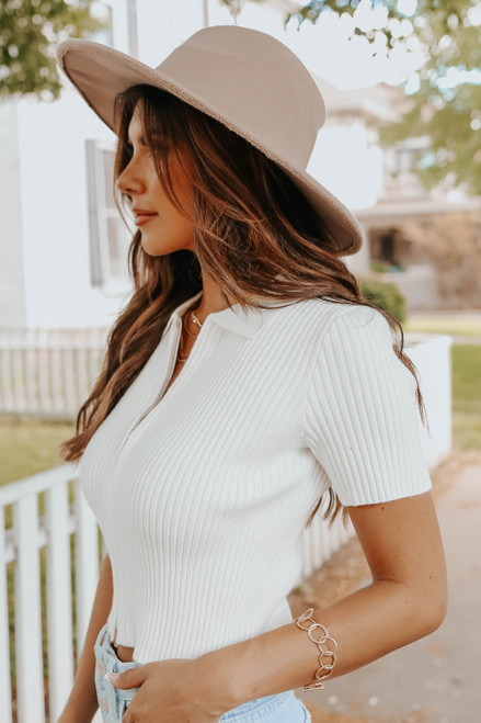 Zip Up White Ribbed Sweater Top