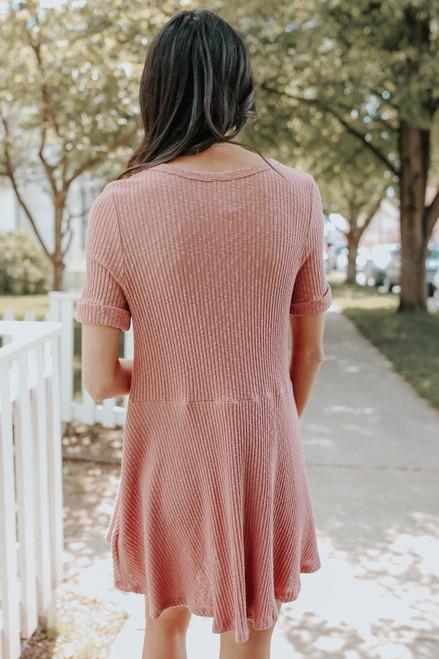 Short Sleeve Mauve Henley Ribbed Dress