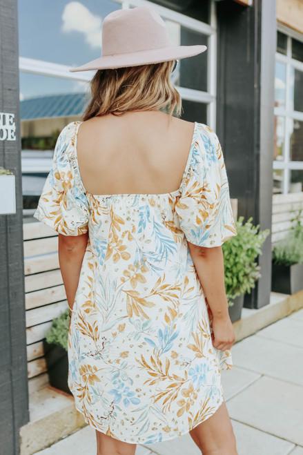 Daybreak Square Neck Printed Babydoll Dress