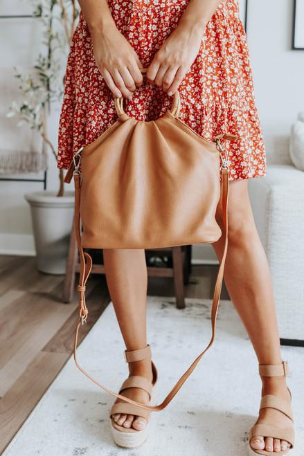 Natalie Bamboo Handle Brown Handbag