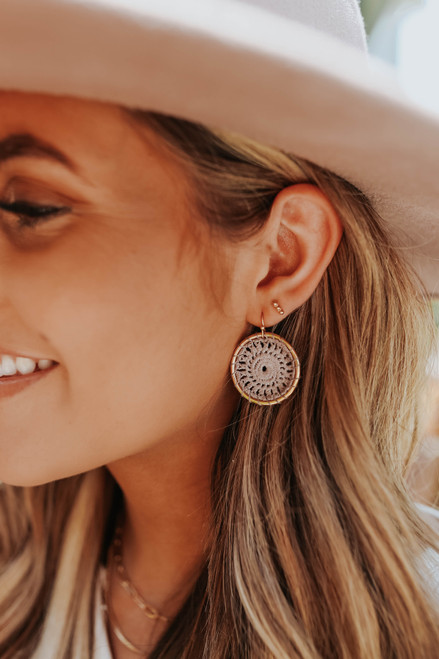 Crochet Grey/Gold Hoop Earrings