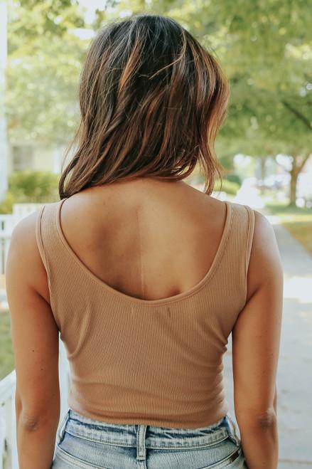 Melrose V-Neck Mocha Ribbed Bodysuit