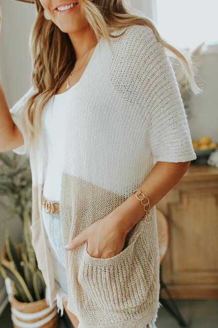Colorblock Short Sleeve Ivory/Taupe Cardigan
