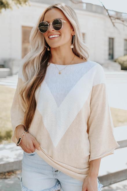 3/4 Sleeve Chevron Colorblock Sweater