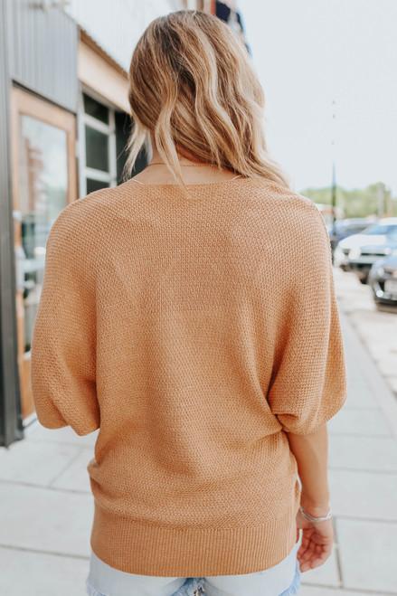 V-Neck Camel Kimono Textured Sweater