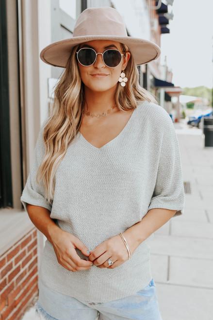 V-Neck Grey Kimono Textured Sweater