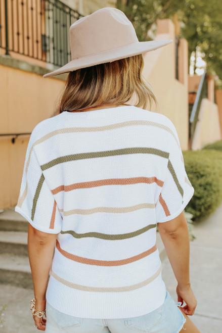 Short Sleeve V-Neck Multi Stripe Sweater