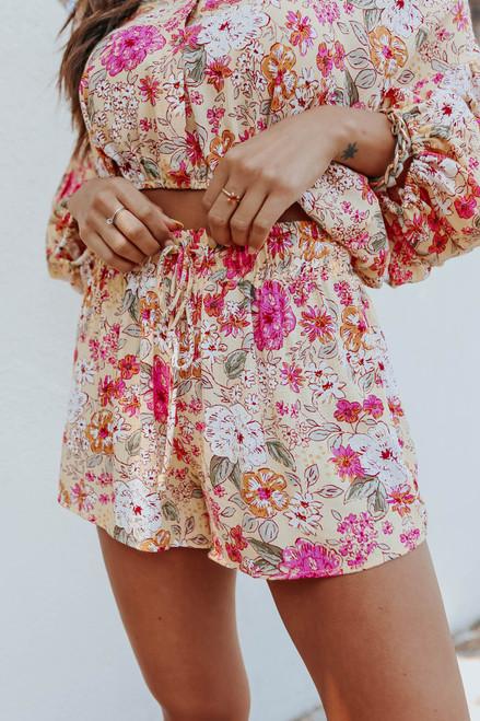 Sweet Sunshine Drawstring Floral Shorts