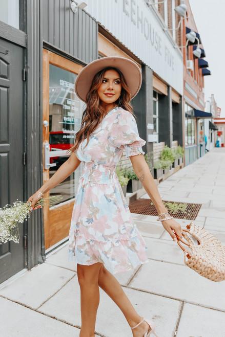Short Sleeves Surplice Pastel Floral Dress