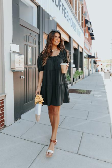 Square Neck Black Tiered Dress