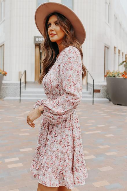 Tea Party Surplice Floral Ruffle Hem Dress