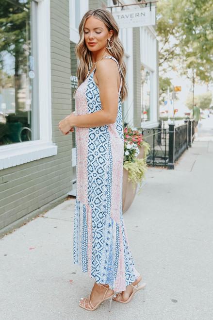 Scoop Neck Mixed Print Midi Dress