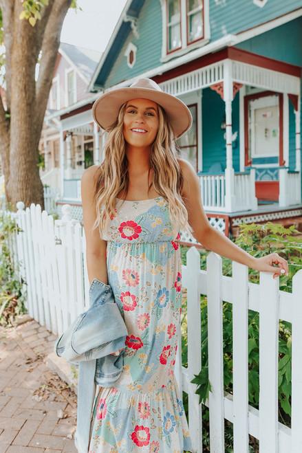 Summertide Floral Ruffle Hem Midi Dress