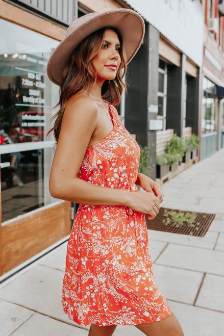 One Shoulder Tie Waist Orange Floral Dress