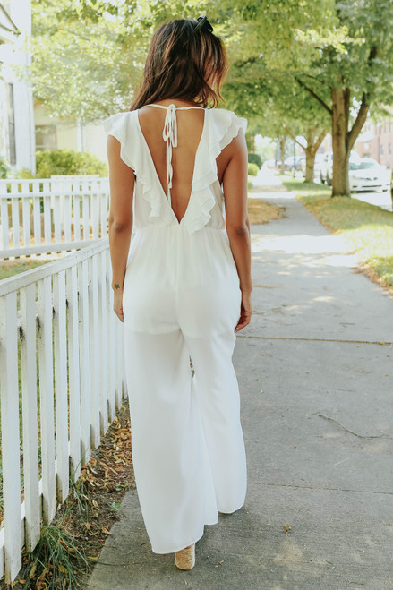 V-Neck Ruffle White Crinkle Jumpsuit