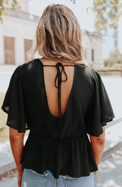 V-Neck Lace Detail Black Peplum Blouse