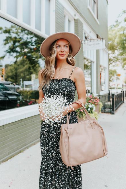 Smocked Black Floral Ruffle Midi Dress