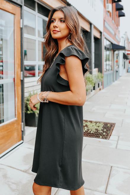 Ruffle Sleeve Black Ribbed Shift Dress