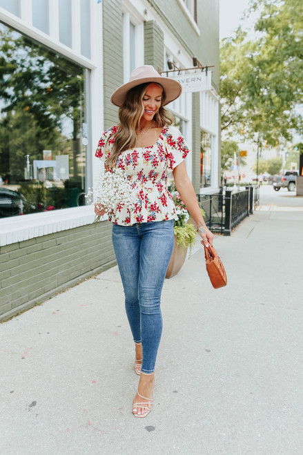 Square Neck Ivory Floral Peplum Top