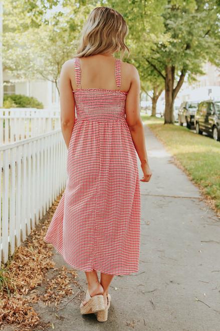 Reese Smocked Red Gingham Midi Dress
