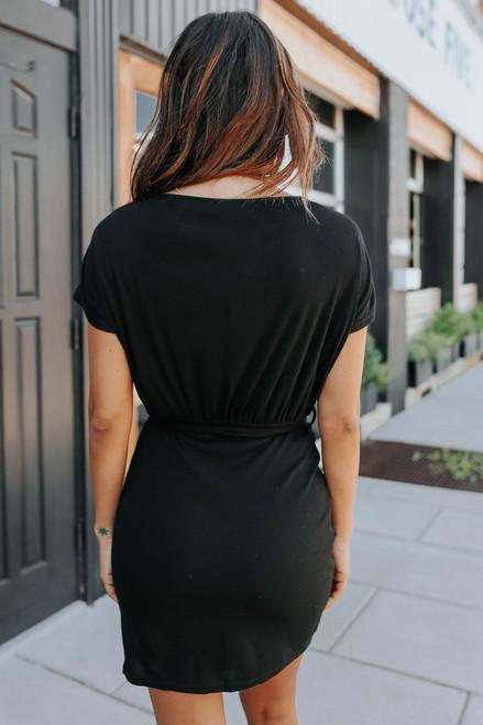 Boatneck Tie Waist Black Knit Dress