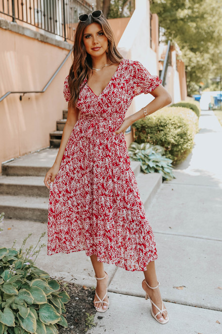V-Neck Tie Waist Red Printed Midi Dress