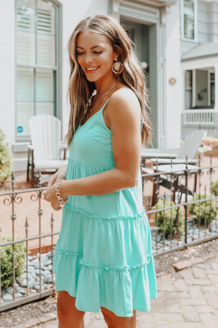 V-Neck Tie Back Jade Tiered Dress