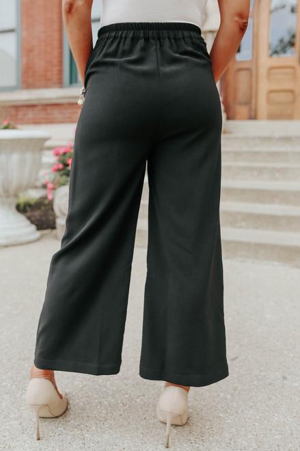 Tie Front Black Wide Leg Pant