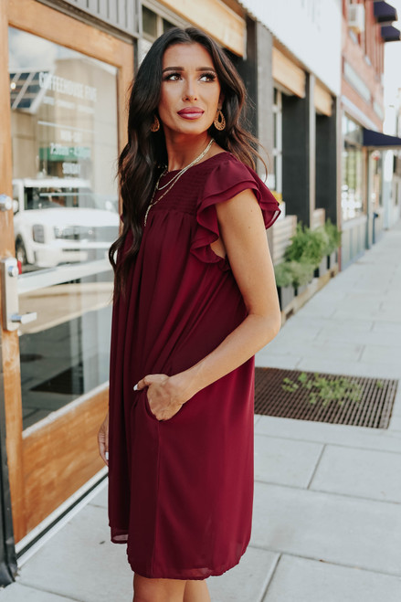 Walk the Line Burgundy Chiffon Dress