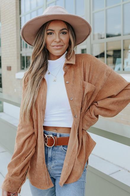 Button Down Camel Corduroy Shirt