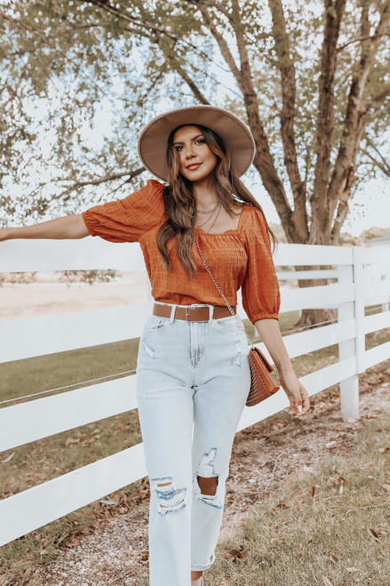 Square Neck Amber Textured Blouse