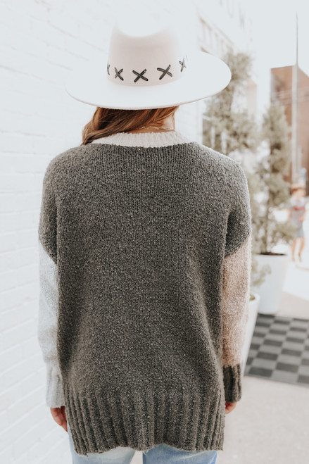 High Neck Boucle Colorblock Sweater