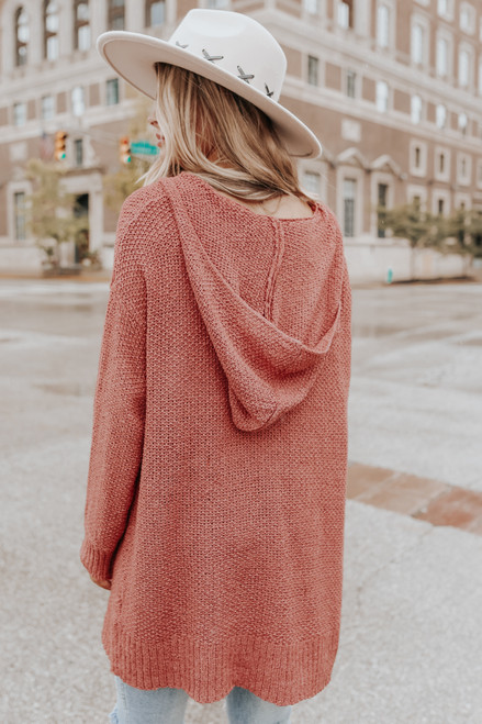 Open Front Ginger Hooded Cardigan