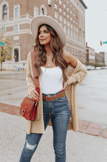 Open Front Taupe Hooded Cardigan