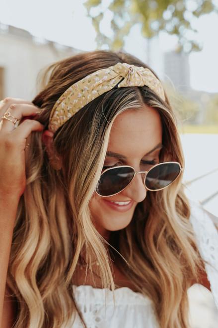 Top Knot Tan Floral Headband