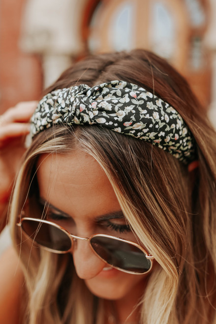 Top Knot Black Floral Headband