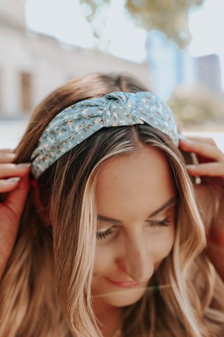 Top Knot Blue Floral Headband
