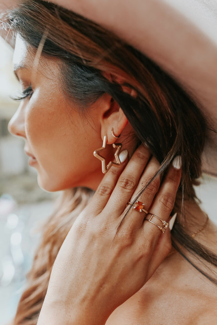 Matte Gold Star Hoop Earrings