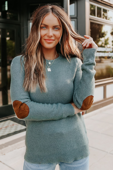 Westport Elbow Patch Sage Teal Sweater