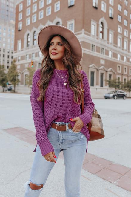 Charmed Crew Neck Purple Waffle Sweater