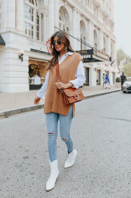 V-Neck Oversized Caramel Sweater Vest