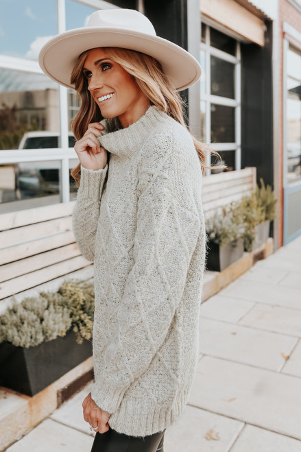 Mock Neck Two Tone Oatmeal Cable Sweater