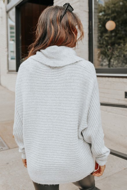 Cowl Neck Grey Ribbed Dolman Sweater