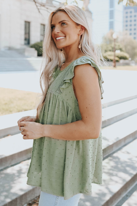 Ruffle Cap Sleeve Olive Dotted Blouse